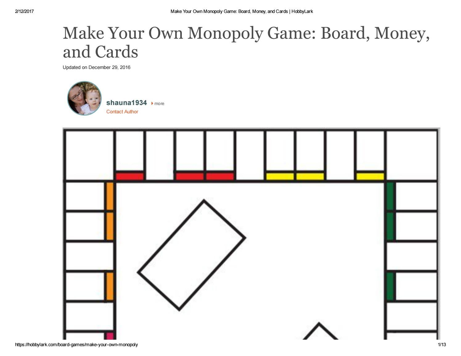board monopoly template print