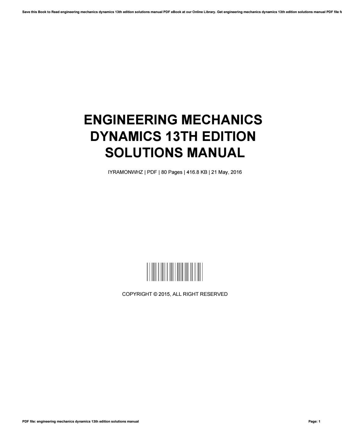 Engineering mechanics 13th edition solutions manual solution manual pdf array best free fillable forms engineering mechanics statics th edition rh lifechallengingrides us fandeluxe Choice Image