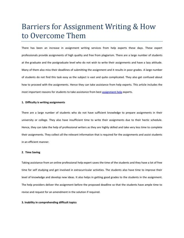 Barriers for assignment writing & how to overcome them by Berney