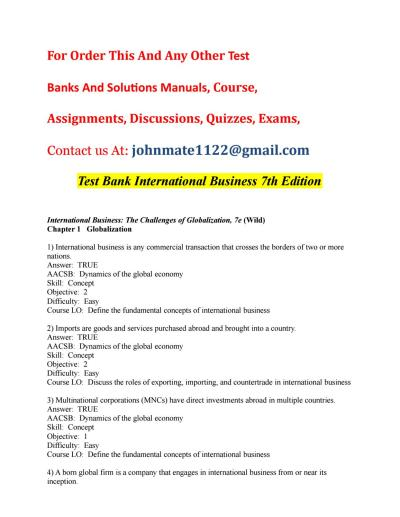 Test bank international business 7th edition by ...