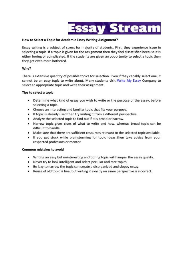 How to select a topic for academic essay writing assignment by