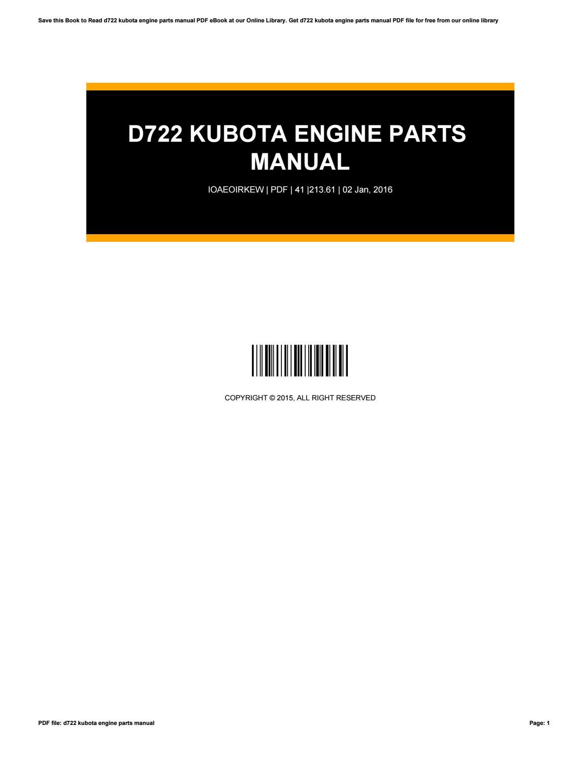 D722 Kubota Engine Manual