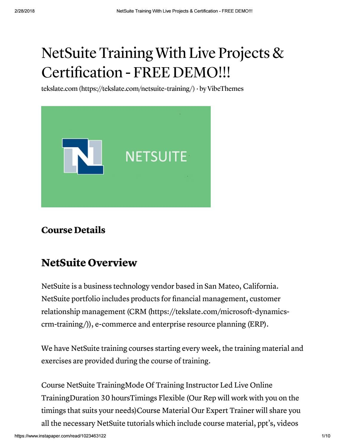 Netsuite Training With Live Projects Certification Free