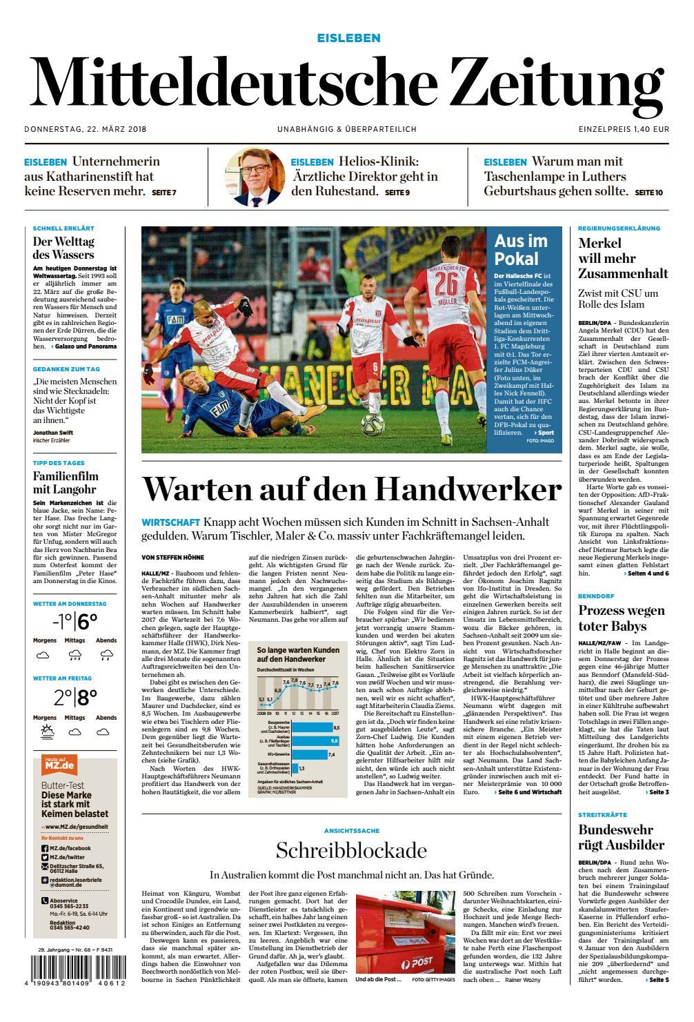 Mansfelder Zeitung Ausgabe 22 03 2018 By Mediengruppe