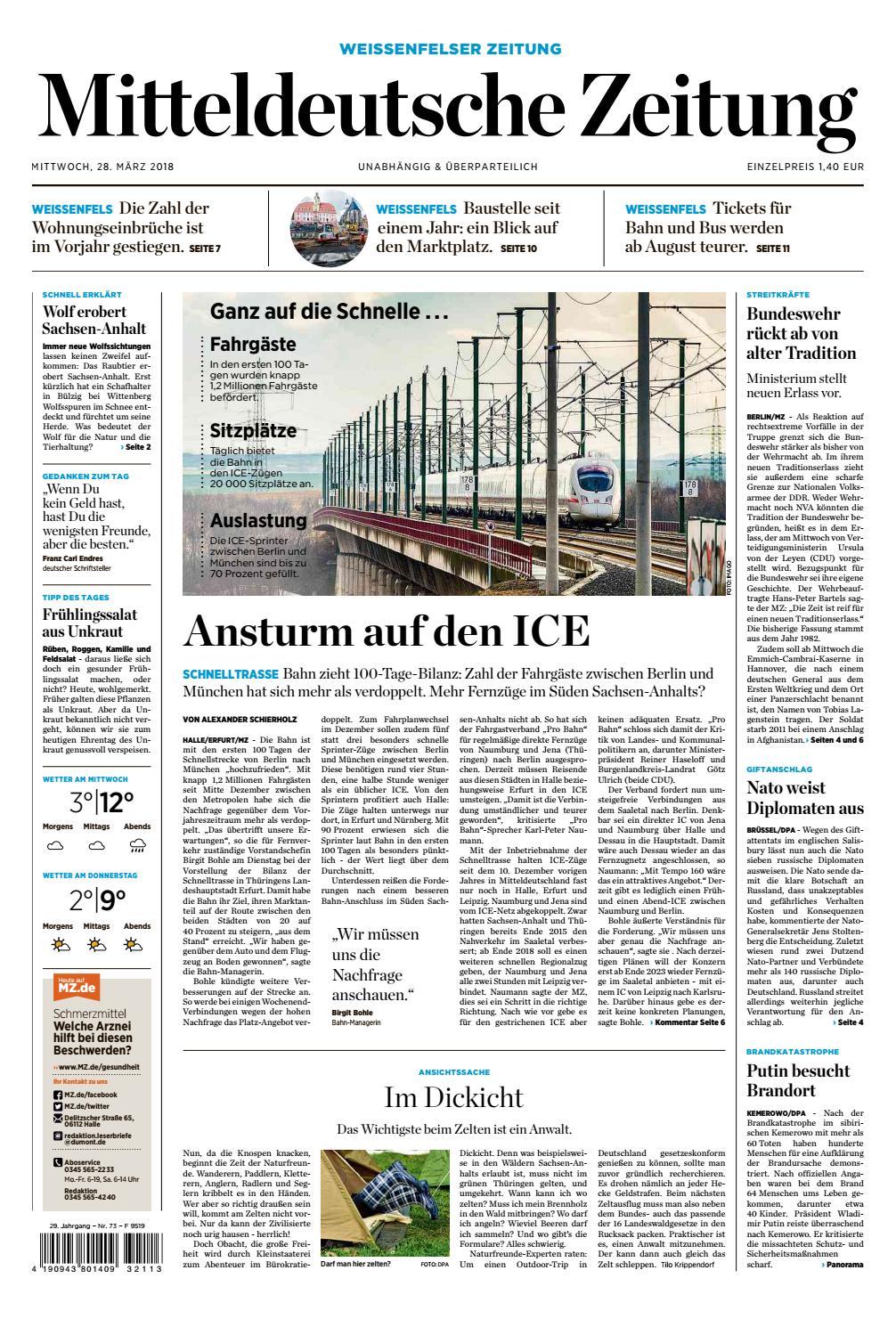 Mz Weissenfels Ausgabe 28 03 2018 By Mediengruppe Mitteldeutsche