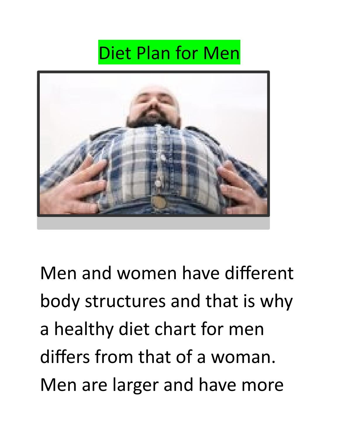Diet Plan For Men By 98fithealth Issuu