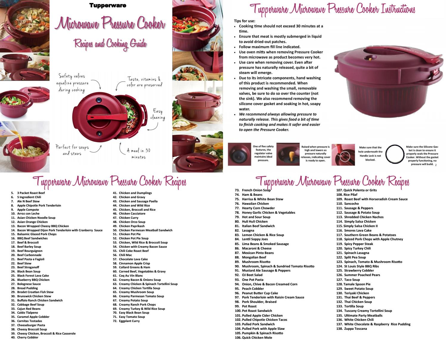 tupperware pressure cooker recipes and