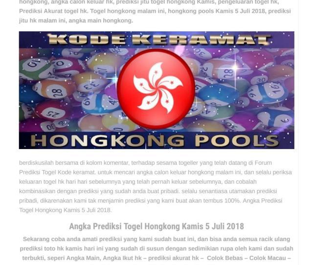 Angka Prediksi Togel Hongkong Kamis  Kode Keramat By