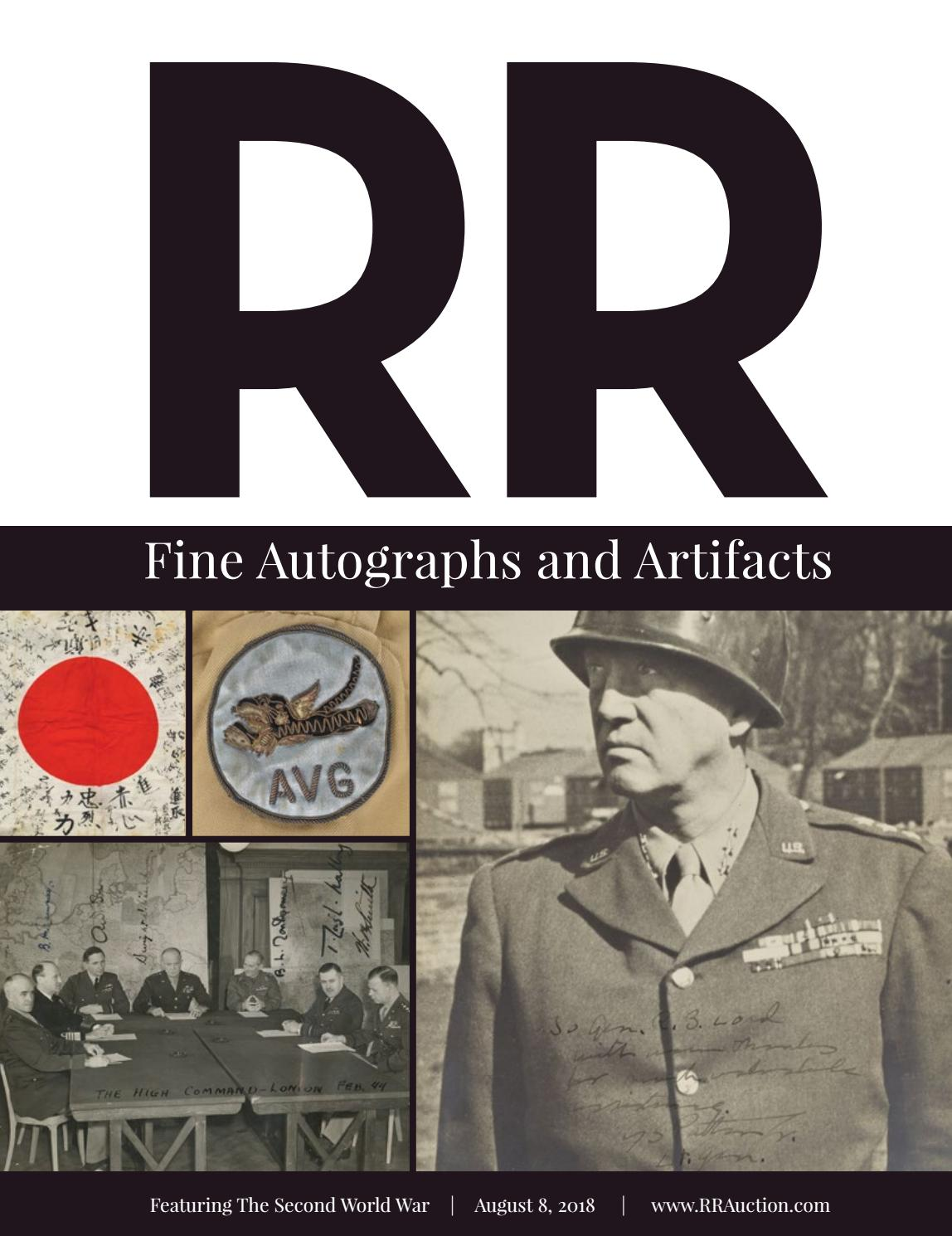 Rr Auction August 2018 Fine Autographs And Artifacts By Rr