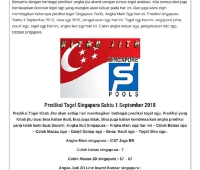 Prediksi Togel Singapura Sabtu  By Suma Camsom Issuu