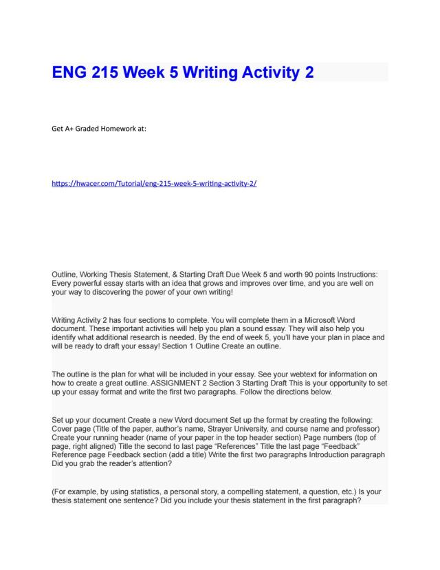 ENG 266 Week 266 Writing Activity 26 by hwacerworks - issuu