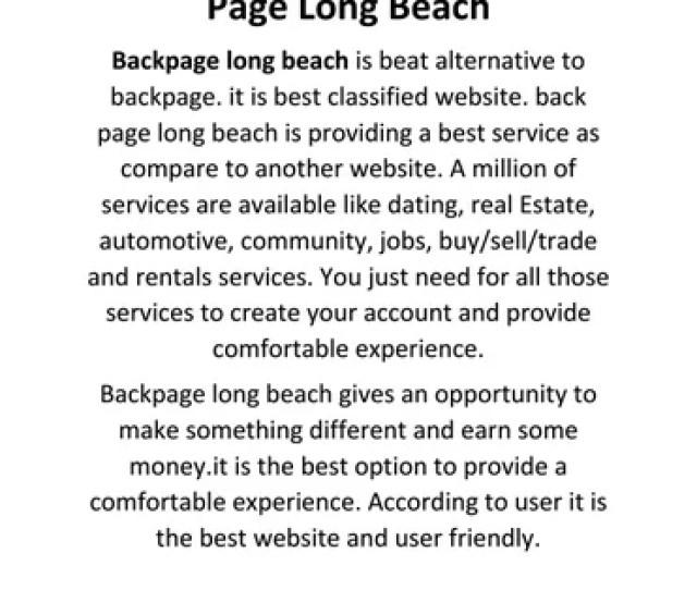 Backpage Long Beach Back Page Long Beach Backpage Long Beach Is Beat Alternative To Backpage It Is Best Classified Website Back Page Long Beach Is