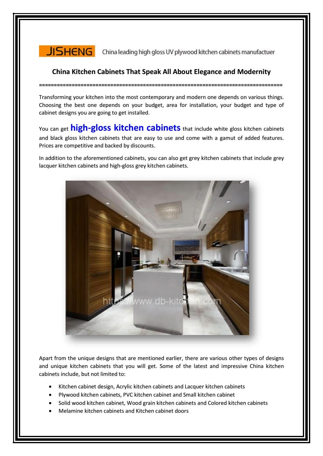 China Kitchen Cabinets That Speak All About Elegance And