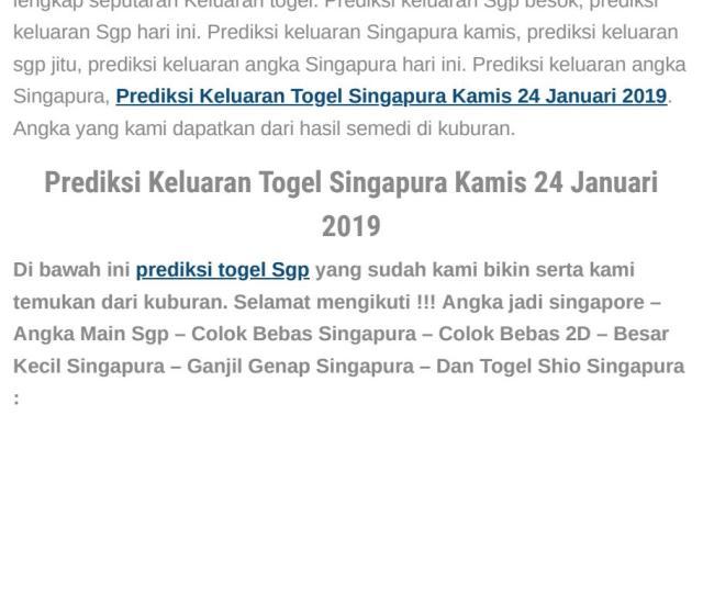 Prediksi Keluaran Togel Singapura Kamis  By