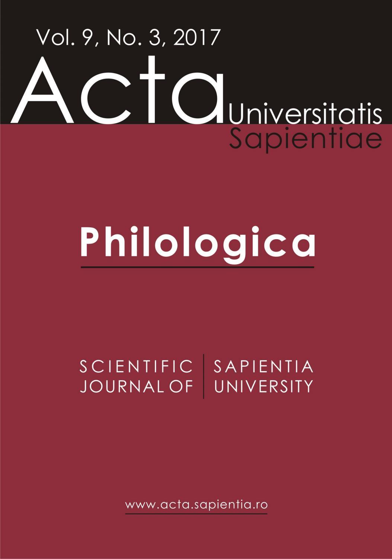 Philologica Vol 9 No 3 2017 By Acta Universitatis Sapientiae