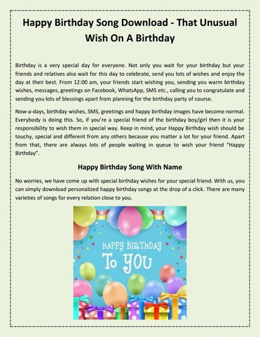 Happy Birthday Song Download That Unusual Wish On A Birthday By Birthday Songs Issuu