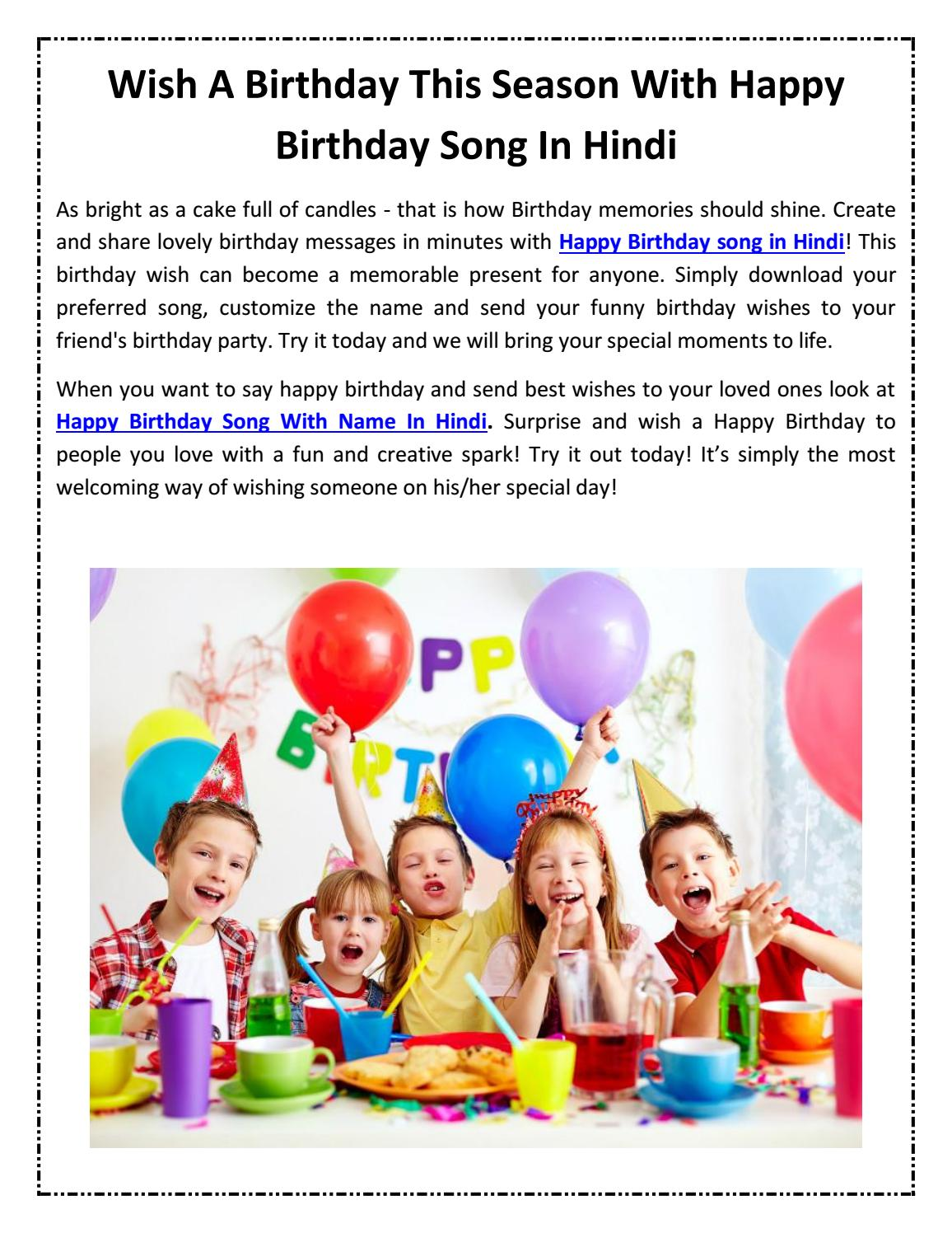Wish A Birthday This Season With Happy Birthday Song In Hindi By Birthday Songs Issuu