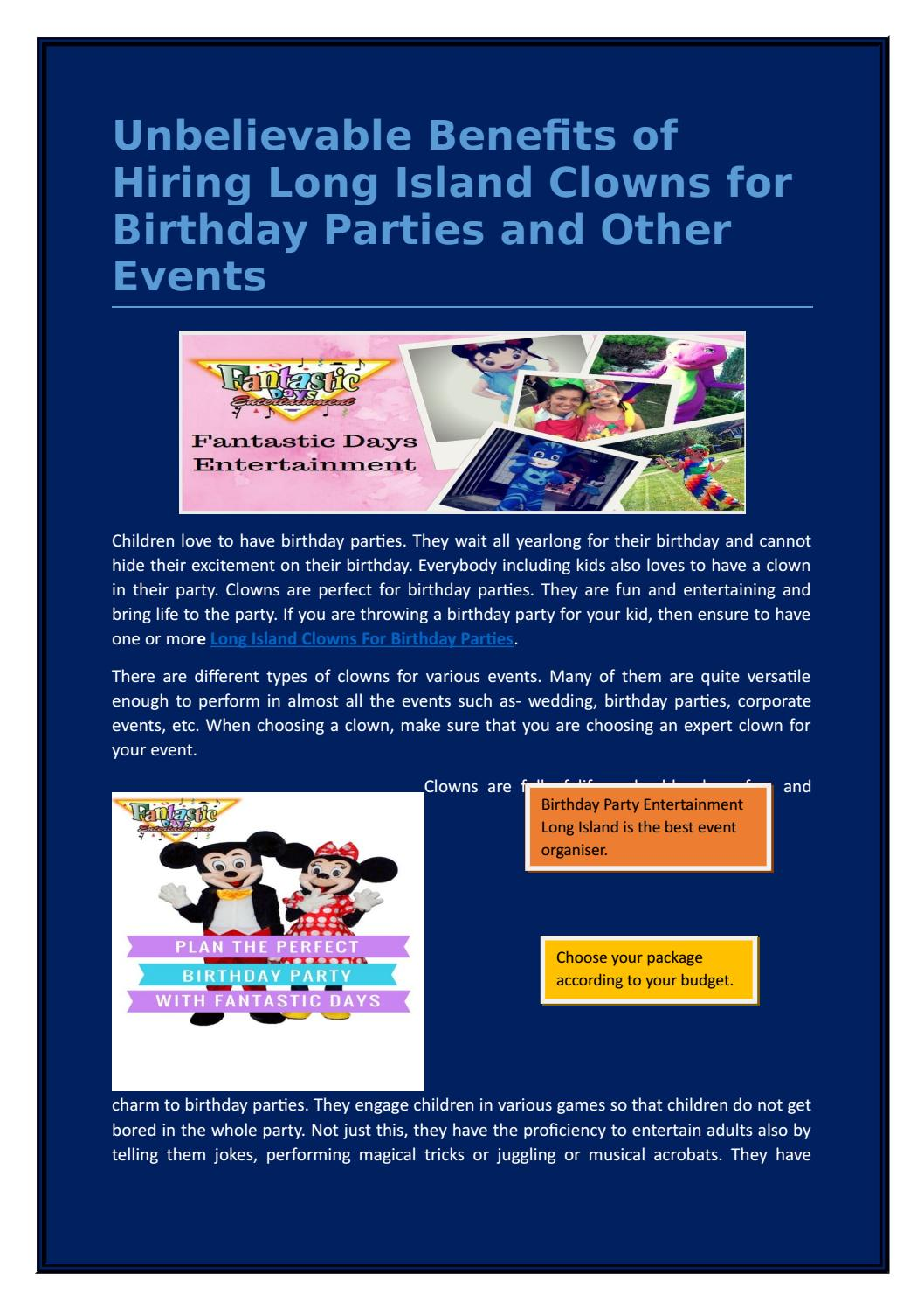 Unbelievable Benefits Of Hiring Long Island Clowns For Birthday Parties And Other Events By Fantastic Days Entertainment Issuu