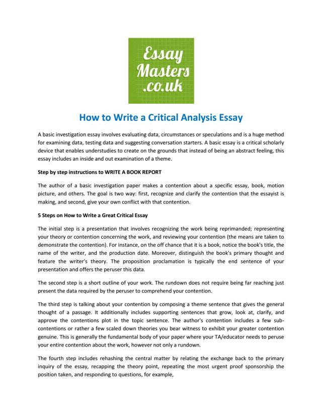 How to Write a Critical Analysis Essay by essaymasterexperts - issuu