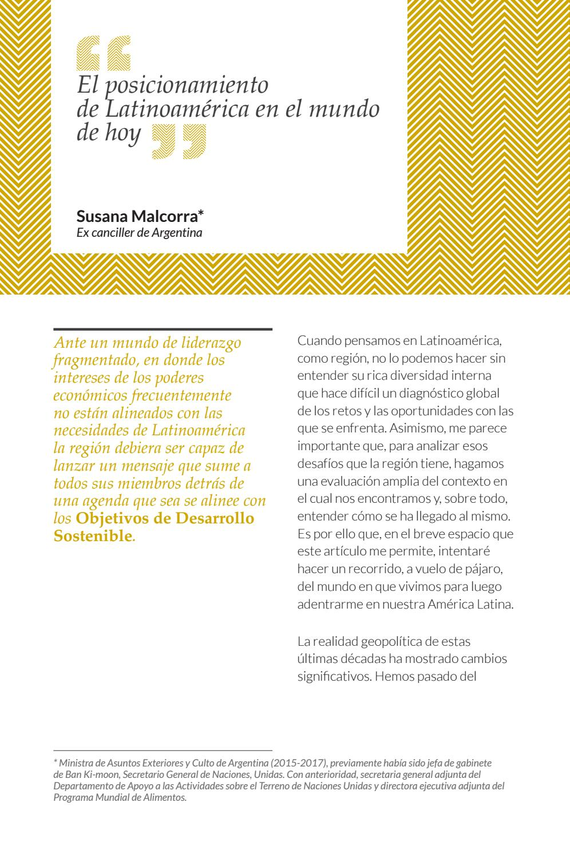 Revista Pensamiento Iberoamericano nº 7. Susana Malcorra