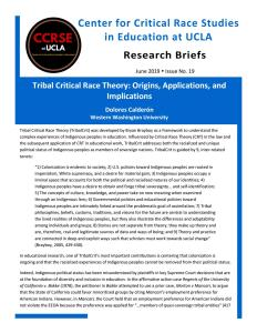 Tribal Critical Race Theory: Origins, Applications, And Implications By  Center For Critical Race Studies At UCLA - Issuu