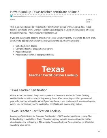 Texas Teacher Certificate By Toto Alfredo Issuu
