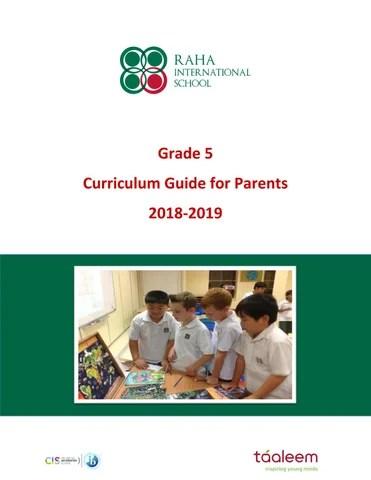 Grade 5 Curriculum Guide 2018 2019 By Raha Interntional