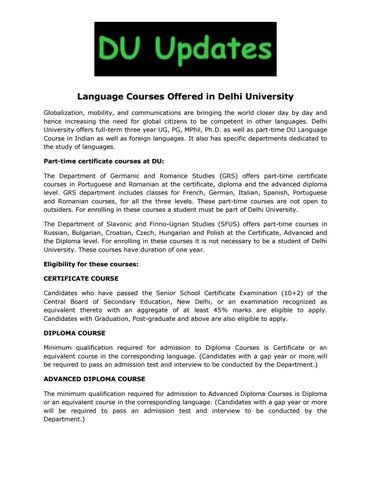 Language Courses Offered In Delhi University By Siddharth