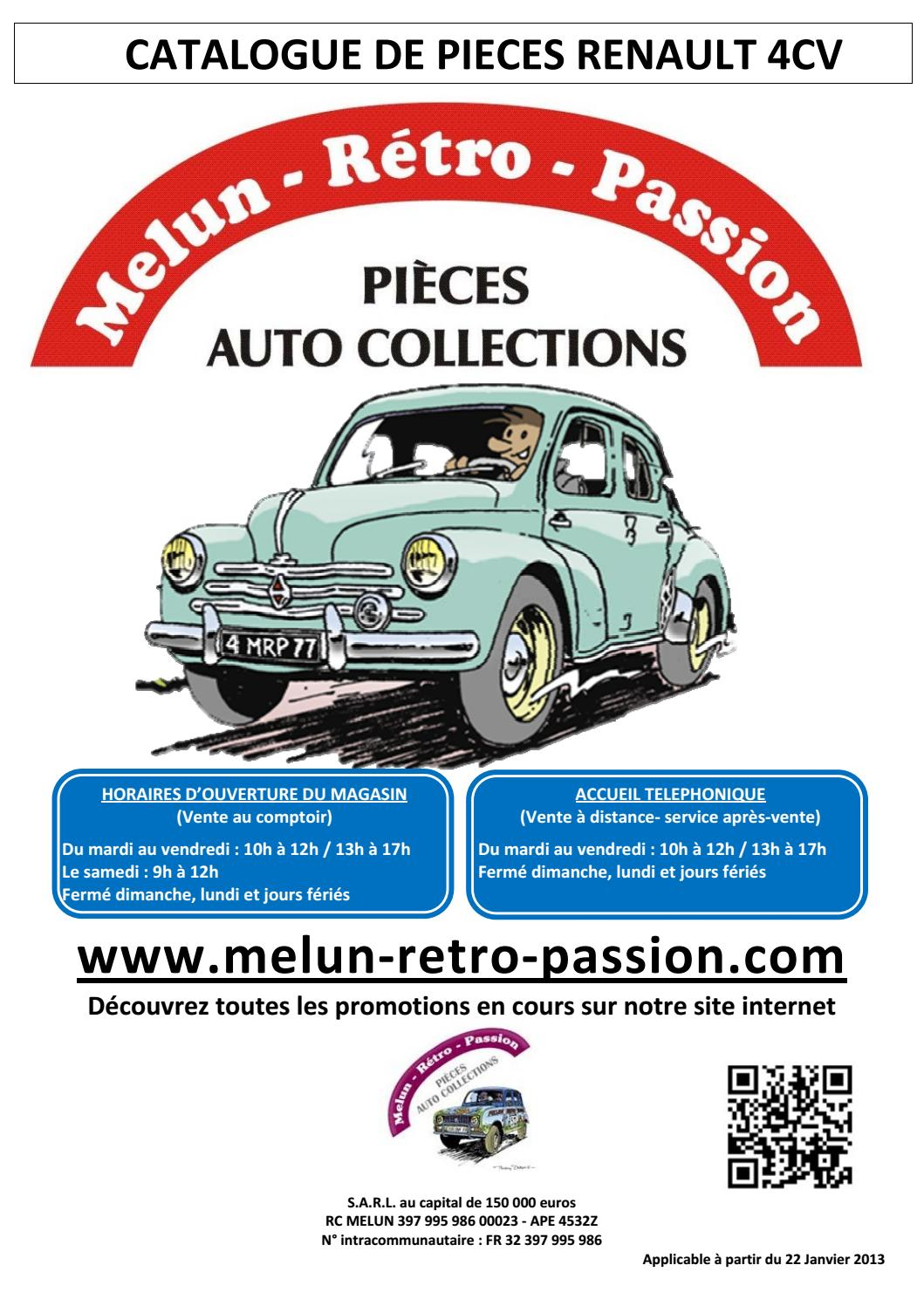 Catalogue Pieces Renault 4cv By Melun Retro Passion Issuu