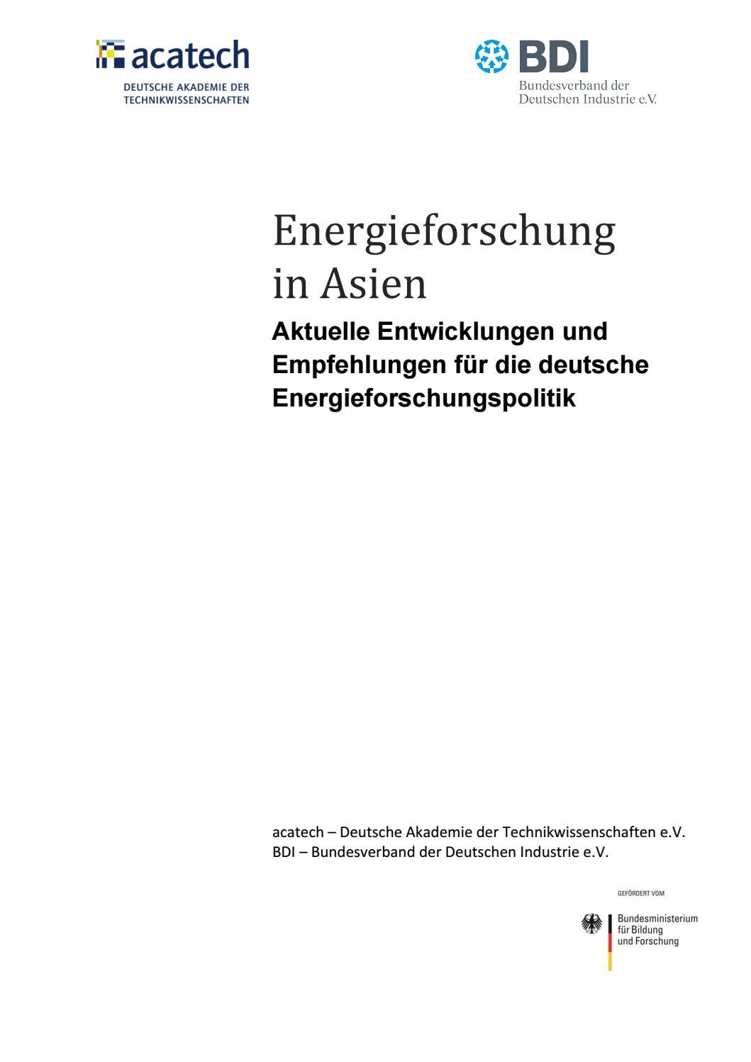 Energieforschung In Asien By Bundesverband Der Deutschen Industrie