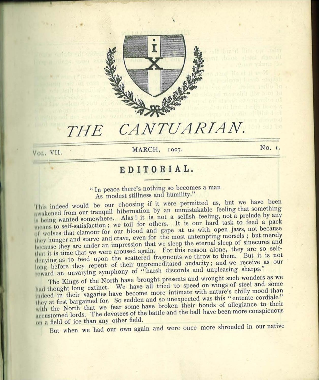 The Cantuarian March 1907 March 1909 By Oks Association Issuu