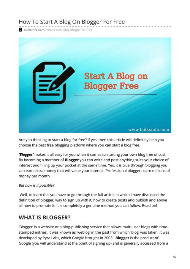 How To Start A Blog On Blogger For Free by rupamsardar26 - issuu