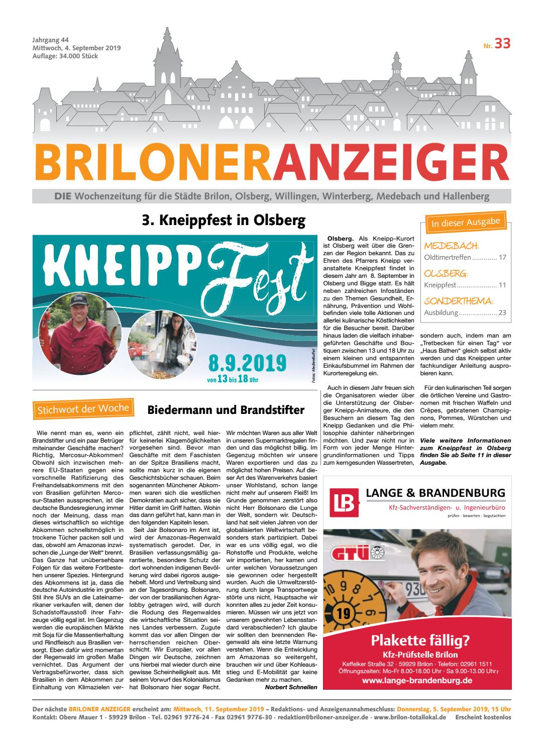 Briloner Anzeiger Ausgabe Vom 04 09 2019 Nr 33 By Brilon