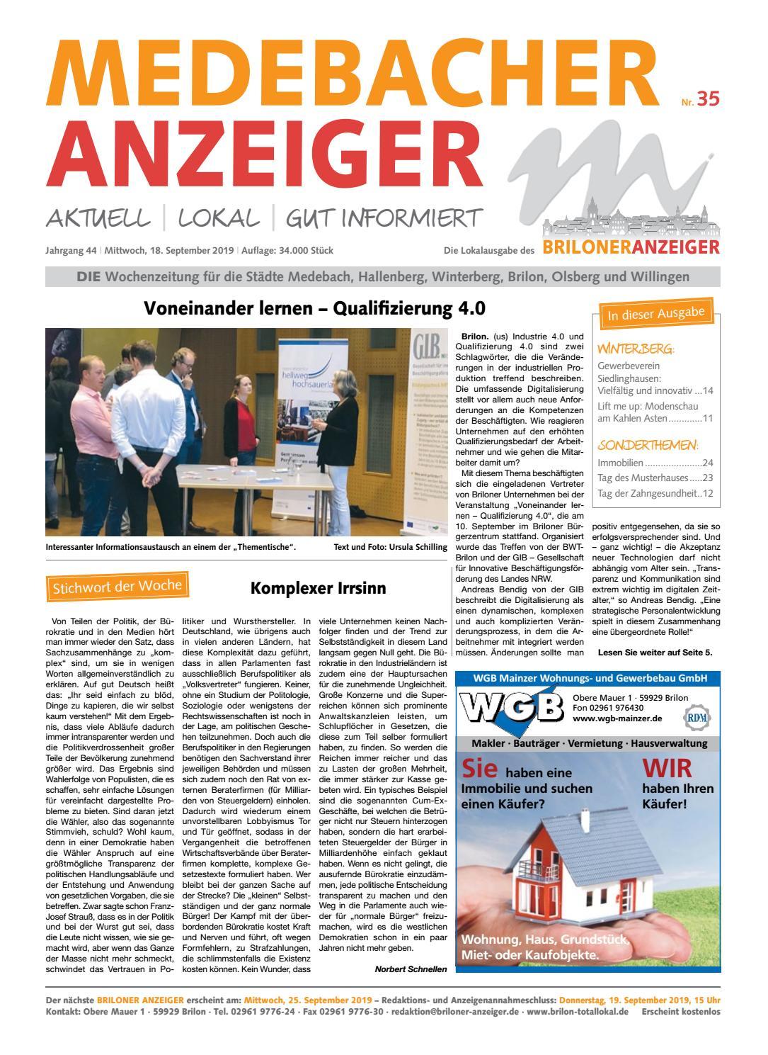 Medebacher Anzeiger Ausgabe Vom 18 09 2019 Nr 35 By Brilon