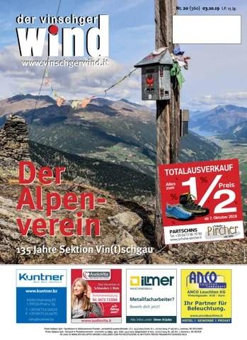 Zeitung Vinschgerwind 20 19 Vom 03 10 2019 Bezirk Vinschgau