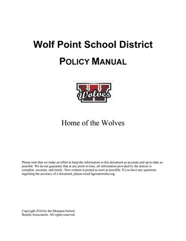 Wolf Point Public Schools Policy Manual By Montana School