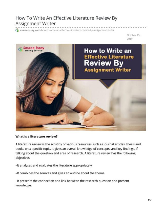 How To Write An Effective Literature Review By Assignment Writer