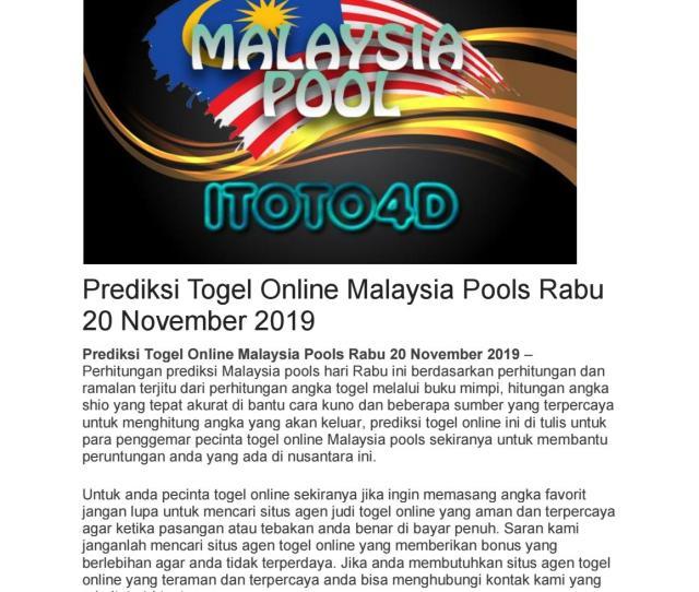 Prediksi Togel Online Malaysia Pools Rabu  By