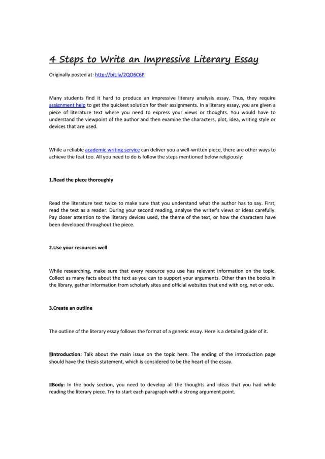 17 Steps to Write an Impressive Literary Essay by Homework help - issuu