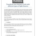 Transform Your Kitchen S Look With Different Types Of Light Fixtures By Kabco Kitchens Issuu