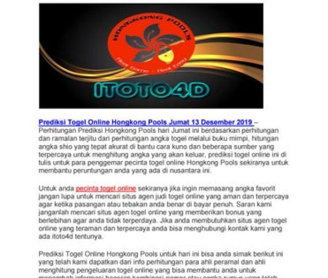 Prediksi Togel Online Hongkong Pools Jumat  By