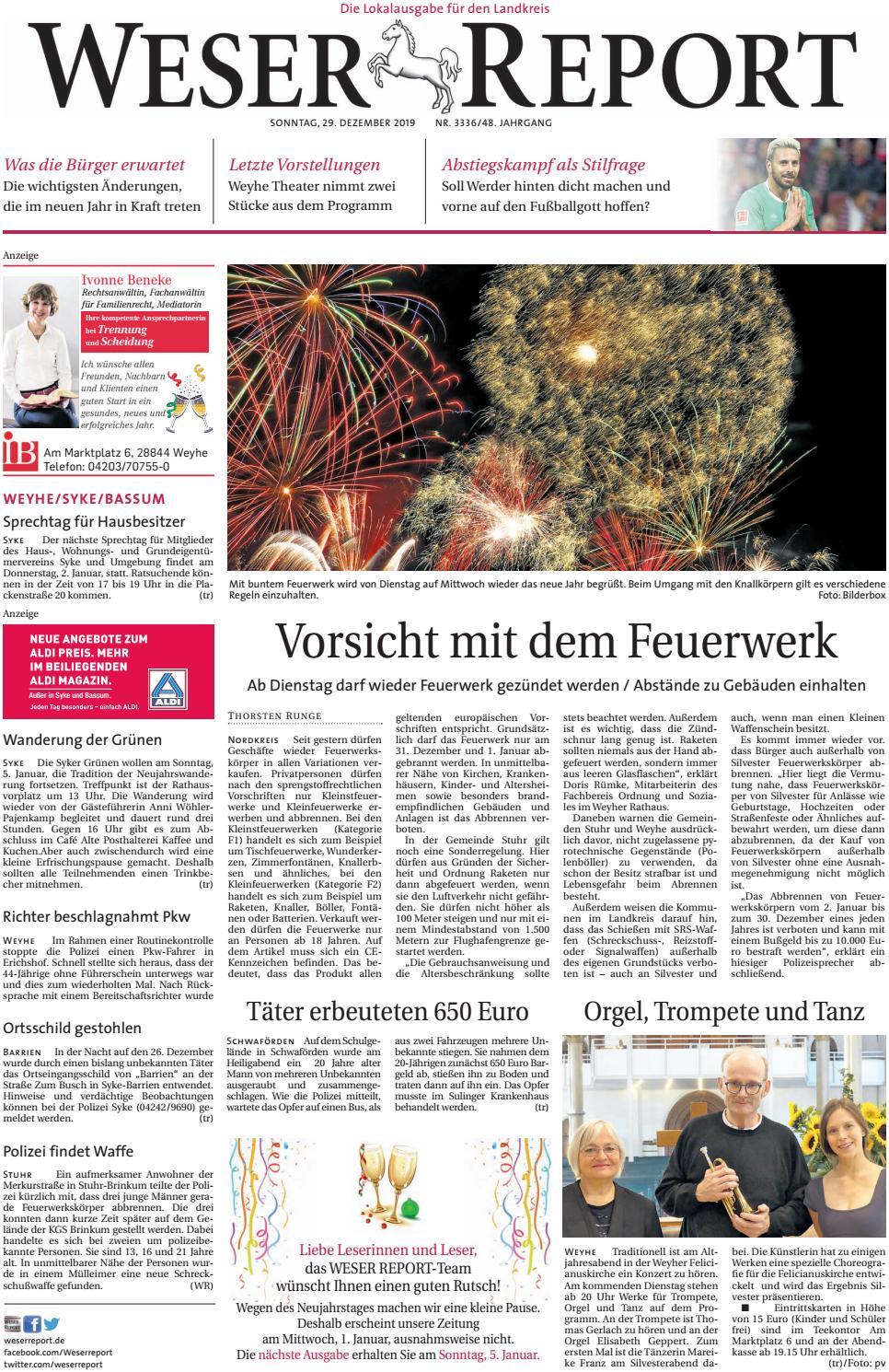 Weser Report Weyhe Syke Bassum Vom 29 12 2019 By Kps