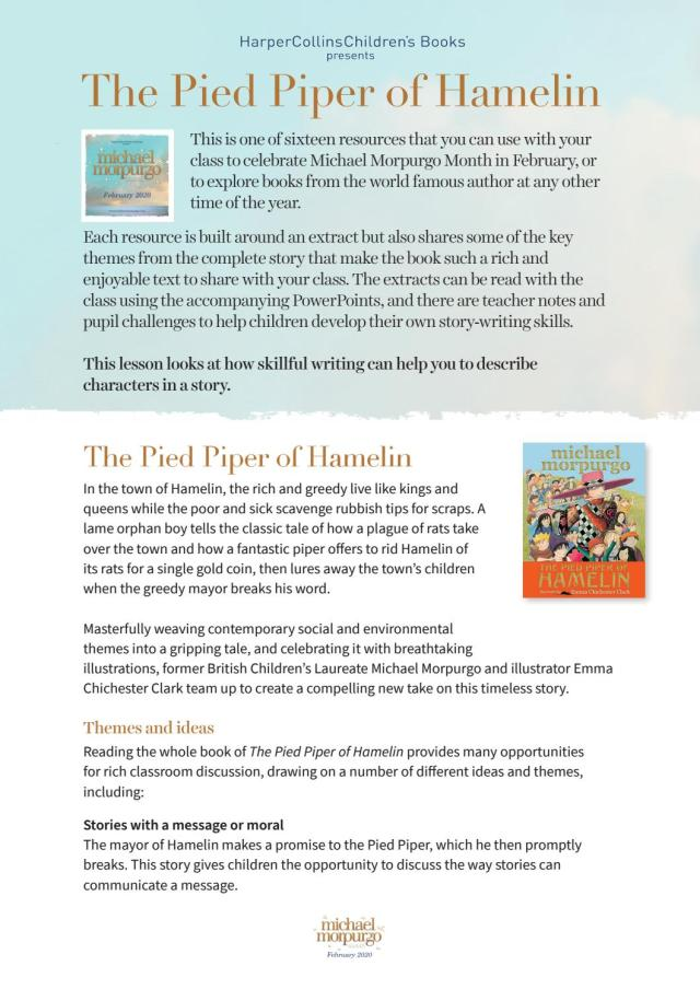 Michael Morpurgo Month 27: The Pied Piper of Hamelin Cover Sheet