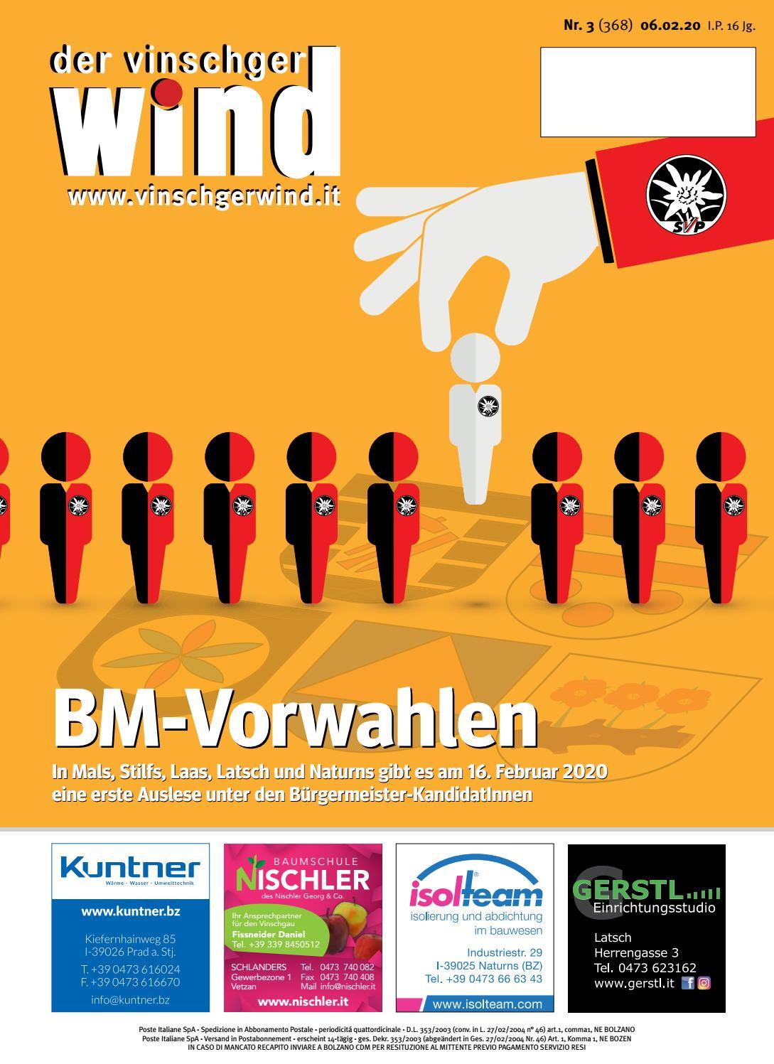 Zeitung Vinschgerwind Ausgabe 3 20 Vom 06 02 20 Bezirk Vinschgau