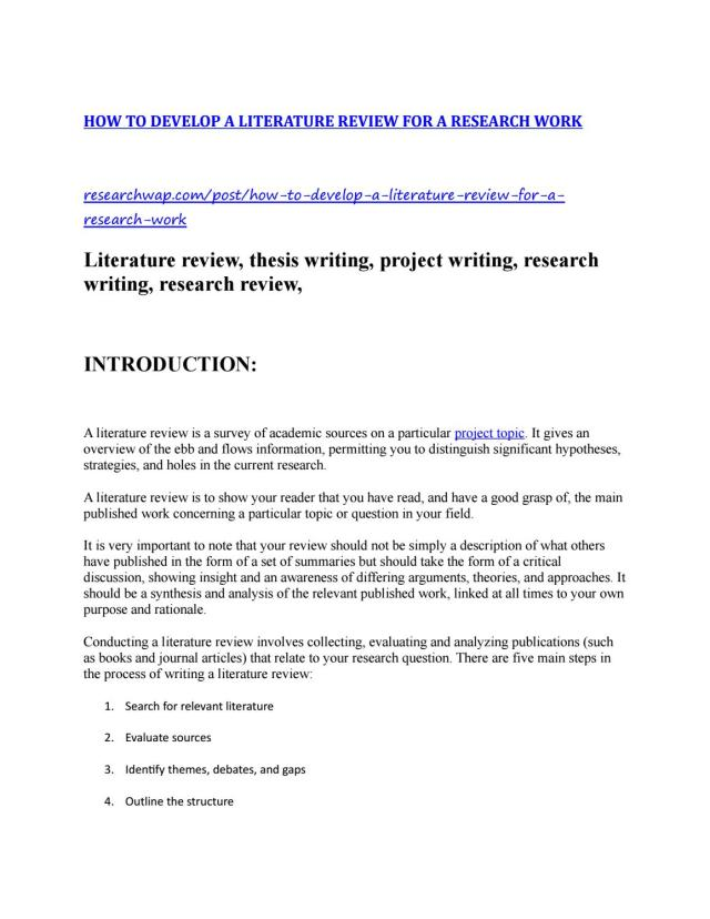 HOW TO DEVELOP A LITERATURE REVIEW FOR A RESEARCH WORK by