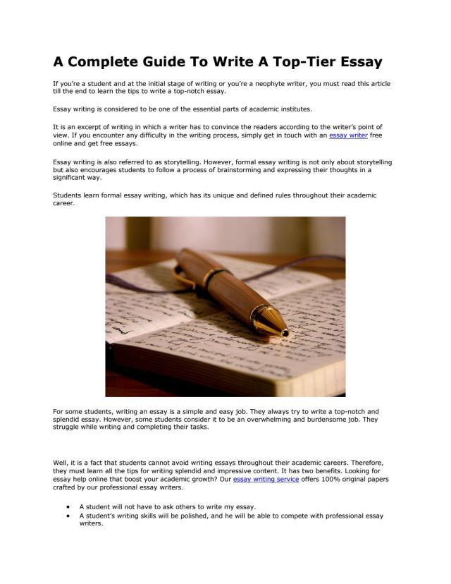 A Complete Guide To Write A Top-Tier Essay by Jason Markus - issuu