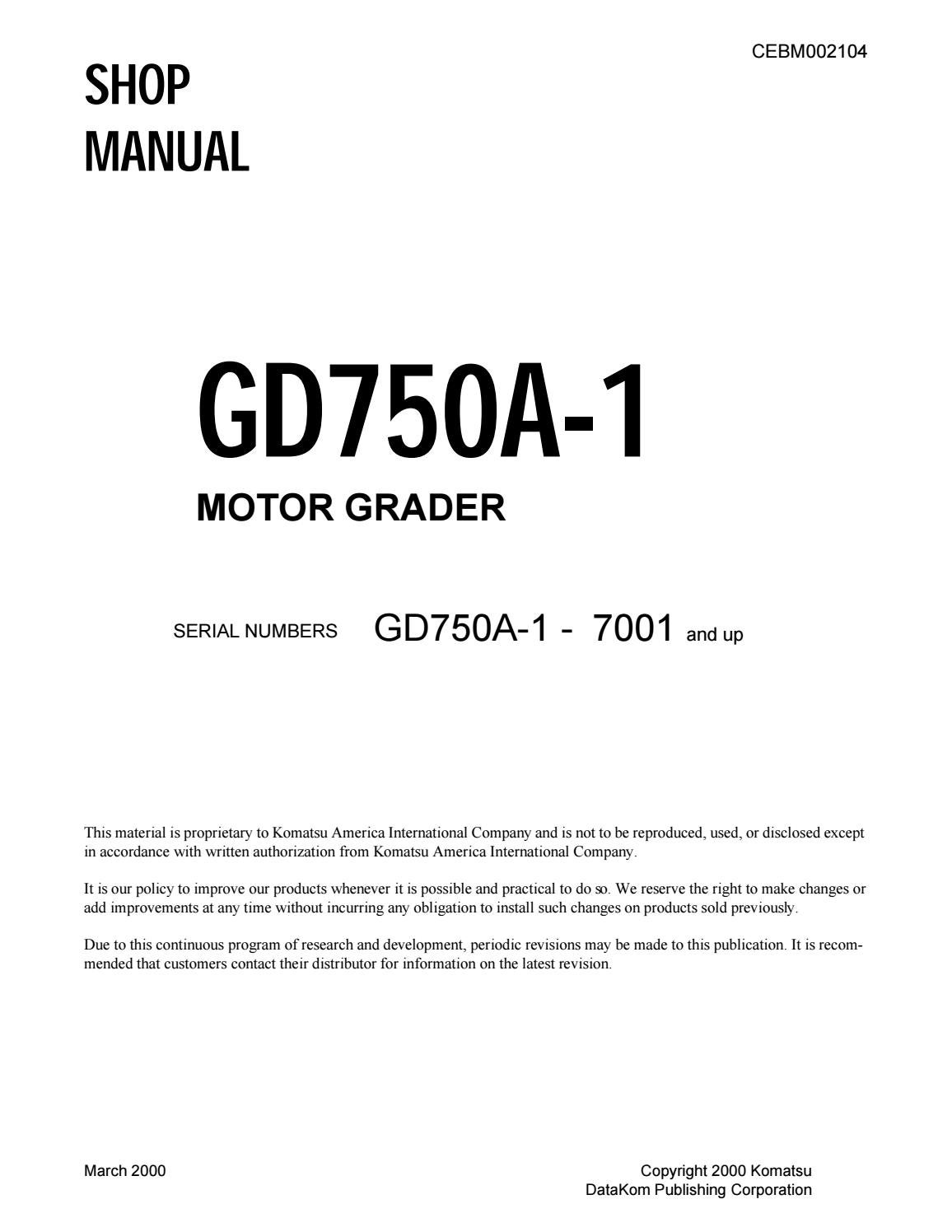 komatsu gd750a 1 motor grader shop
