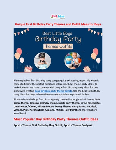 Best First Birthday Party Themes And Outfit Ideas For Boys By Pink Blue India Issuu
