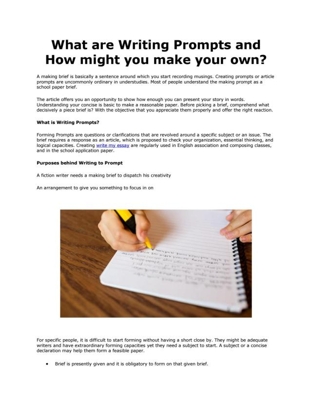 What are Writing Prompts and How might you make your own? by Freya