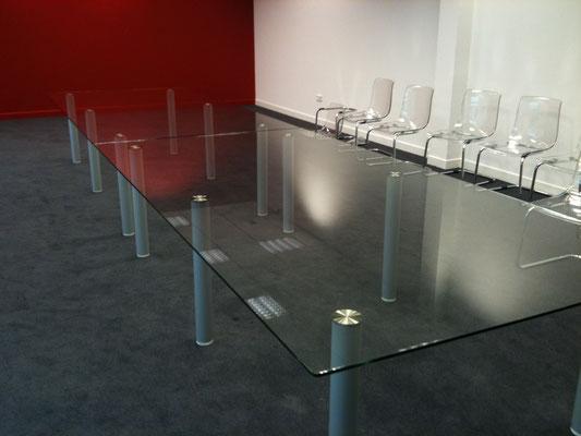 dessus de table en verre vitrerie